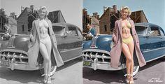 Marilyn Monroe standing next to a 1951 Pontiac Chieftain