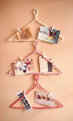25. Hanger Inspiration Board (wrap yarn around hangers, use painted clothespins to attach items) | 32 Awesome No-Knit DIY Yarn Projects