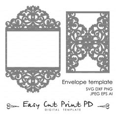 Wedding invitation Pattern Card Template Lace by EasyCutPrintPD: