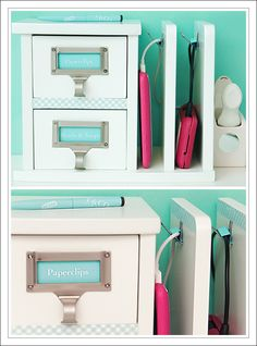 "this ""letter holder"" is on Amazon for $30.06 (http://www.amazon.com/exec/obidos/ASIN/B00167V8TS/cluelessbooks) and it had two drawers - much more useful.  I glued two aqua clips to the side to keep my cords in place and decorated the area above them (and the area between the two drawers) with ribbon-tape.  Voilà!  A DIY charging station / valet for less than half of the original."