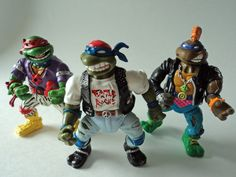 These toys are part of the Rock N Rollin Turtles. Rappin Mike is missing from this set. Each figure is in good shape. They are missing their accessories. I have had these in storage and out of sunlight.