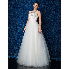 Ball Gown Jewel Floor-length Lace And Tulle Evening Dress (1798994) – USD $ 179.99