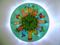 Lighted Kids Clock, Fairy-Tale Town Night Light, Nursery Decor, Houses Wall Decor, Childrens Room Decor Gift for New Baby Wall Clock Hands, Wall Clocks, Led Garland, Clock For Kids, Thing 1, Unique Wall Decor, House Wall, Childrens Room Decor, Beautiful Wall