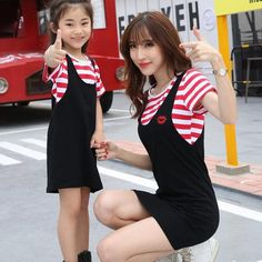 $15.30 Korean Mother And Daughter Outfit Striped T-Shirt With Straps Dress #koreanclothing #onlineshopping #strapsdress #tshirt #cheapclothing #onlineshoppingchina #onlineshoppingmalaysia #onlineshoppingsingapore