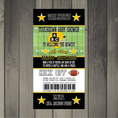 Pittsburgh Steelers Inspired Football Baby Shower Invitation $15