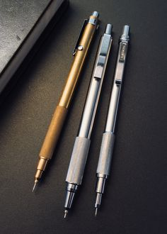 Raw Metal Trio: MANUFACTUM 0.5mm brass double-knock mechanical pencil, ZEBRA F-701 steel ballpoint pen & FUJI CORONA No. 205-03 Mecha Pen.