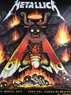 Metallica - 2017 Munk One poster Mexico City N3 S/N AP Foro Sol Arena Metallica Albums, Metallica Concert, Metallica Art, Hard Rock, Rock Posters, Band Posters, Music Posters, James Hetfield, Woodstock