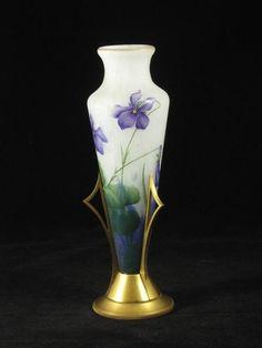 Daum Amphora vase in gilt bronze stand, French, 1895