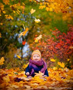 Fall portrait of a one year old in Finland