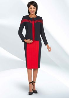 Ben Marc Executive 11729 Dual Color Business Dress Suit With Jewel Neckline - Fall 2018 - ExpressURWay Business Dresses, Business Attire, Business Casual, Church Fashion, Career Wear, Dress Suits, Work Attire, Powerful Women, Fall 2018