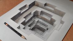 """Hole #2"" - 3-D drawing by VamosArt (Sandor Vamos), via deviantART"