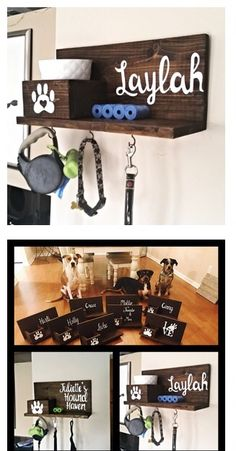 Do you love your pup? Check out this customizable dog leash holder for a cute and creative way to store all of your four legged friends accessories!