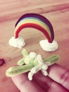 Pipe cleaner Rainbow and airplane.Pipe cleaner artist,Atsushi Kitanaka.