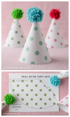 FREE printable Polka Dot Party Hats (+DIY pompom tutorial) by marcy Party Printables, Easter Printables, Free Printable Party, Free Printables, First Birthday Parties, First Birthdays, Diy Birthday Party Hats, Diy Birthday Hat For Cat, Birthday Outfits