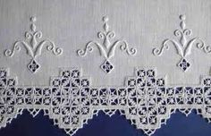 Whitework and Pulled Threadwork. Like the Whitework - almost a fleur-de-lis… Types Of Embroidery, Ribbon Embroidery, Embroidery Patterns, Machine Embroidery, Doily Patterns, Dress Patterns, Hardanger Embroidery, Cross Stitch Embroidery, Art Du Fil
