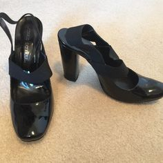 Jessica Bennett high heel black open back shoes These are very comfortable for how high they are. The elastic back and elastic over the top really mold them to your foot.  Size 9 1/2 M with 4 inch heel Jessica Bennett Shoes Heels