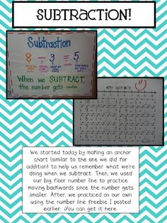 I snagged this off of Mrs. Plant's Press blog!!! Awesome subtraction stuff for my Kinder-beaners!!