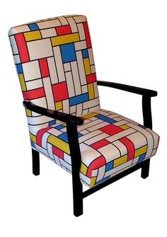 Mid Century Upcycled Parker Knoll Armchair in Mondrian fabric. This striking completely restored Mid Century Chair has been completely 1950s Furniture, Mid Century Modern Furniture, Upcycled Furniture, Contemporary Furniture, Furniture Decor, Piet Mondrian, Geometric Curtains, Patchwork Chair, Colour Architecture