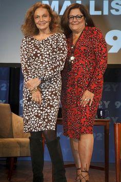 Diane von Fustenberg & Fern Mallis in hosiery during Fashion Week