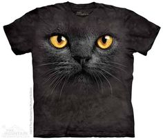Big Face Black Cat T-shirt | Cat & Kitten T-shirts | The Mountain®