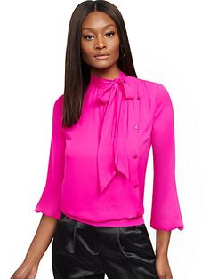 Buttoned Bow-Accent Blouse - New York & Company Hot Pink Blouses, Hot Pink Tops, Sophisticated Style, Elegant, Work Blouse, Fashion Essentials, Petite Fashion, Fit Women, Dress Outfits