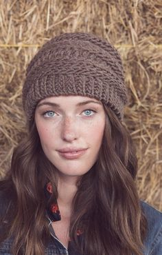 A bulky yarn worked in a slip-stitch pattern that mimics knitting has a surprising amount of drape and elasticity because of the large hook used. Patterns for a close-fitting hat and a slouchy hat can be found in Interweave Crochet, Winter 2017.
