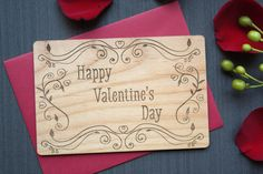 Unique Valentines Day Card - Valentine's Day Wood Card #TriElegance