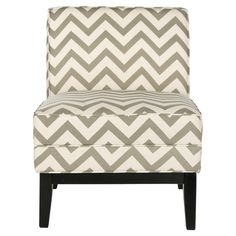 Add a pop of style to your living room or master suite with this birch-framed accent chair, showcasing an eye-catching chevron print in grey.  ...