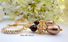Swarovski Dark Champagne Pearl Earrings Brown by DebraAnnCreations