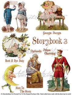 Storybook 3 Vintage Altered Art Scrap Digital Sheet Puppet Theaters Man In Moon Cinderella Prince Charming Georgie Peorgie Rock A Bye Baby via Etsy