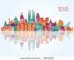 Spain detailed skyline. vector illustration