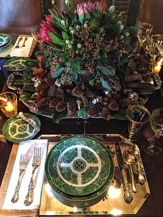 Holiday table at designer Lisa Hilderbrand's antique Connecticut house