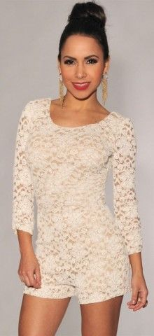 Plus Size Knotted Back White Lace Long Sleeve #Romper