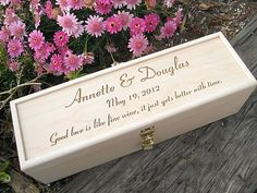 Engraved Wine Box with Padlock Personalized Wood by engravingwiz, $65.00