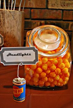 """Headlights"" round cheese puffs for Joseph's Mater Party, also could go for any car party"