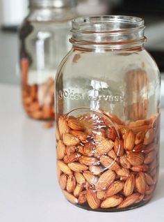 How to make almond milk kefir (almond milk with probiotics) to add to smoothies... Good for skin and digestion! Also, this way the almonds have their anti-nutrients reduced! You can do this with other nuts and seeds too.