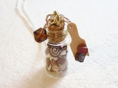 Jar Of Chocolates Pendant.  Polymer clay by GiraffesKiss on Etsy