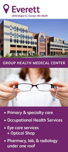 The Group Health Everett Medical Center specializes in primary care, featuring family medicine, internal medicine, and pediatric physicians. You'll also find a pharmacy, a lab, an injection room, and radiology on site as well as many specialty services, an audiology/hear center, and eye care services. Group Health, Optical Shop, Internal Medicine, Primary Care, Radiology, Medical Center, Adolescence, Pediatrics, Pharmacy