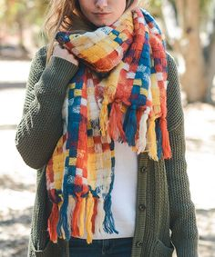 Leto Collection Yellow & Blue Patchwork Tassel Scarf | zulily  . . $11.99 $48.75  .  Product Description:  Woven patchwork and large tassels bring boho charm to this cheery scarf that brings a splash of color to your cold-weather ensembles.      25'' x 82'' .     100% acrylic .     Machine wash .     Imported