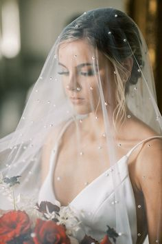 Sheer Pearl Bridal Veil for a Romantic Wedding Photos Romantic Wedding Photos, Glamorous Wedding, Wedding Vendors, Wedding Ceremony, Bridal Veils And Headpieces, Wedding Dress Styles, Bridal Looks, Pearl Bridal, Bride