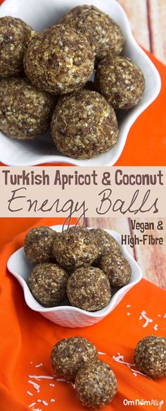 Turkish Apricot & Coconut Energy Balls @OmNomAlly