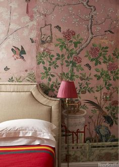 8 Things Every Tiny Apartment Needs No space for bedside tables? Night lights that hang on the wall will keep you out of the dark. Removable Wallpaper, Hand Painted Wallpaper, Interior, Chinoiserie, Chinoiserie Wallpaper, Apartment Essentials, Apartment Needs, Hand Painted Walls, Contemporary Furnishings