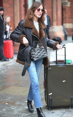 Back on track: Alexa Chung was spotted arriving at London's St. Pancras railway station, a...