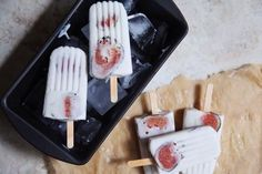 Coconut Fig Popsicles: -2 cups coconut milk -1/2 cup honey(I wont use any tho) -1/2 vanilla bean, scraped -pinch of salt -4 fresh figs, thinly sliced
