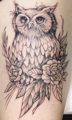 Owl Thigh Tattoos, Baby Owl Tattoos, Thigh Tattoo Designs, Owl Tattoo Design, Dope Tattoos, Pretty Tattoos, Unique Tattoos, Beautiful Tattoos, Body Art Tattoos