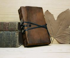 Leather Journal or Notebook, Brown Antiqued Leather, Antiqued Pages - The Traveler on Etsy, $55.00