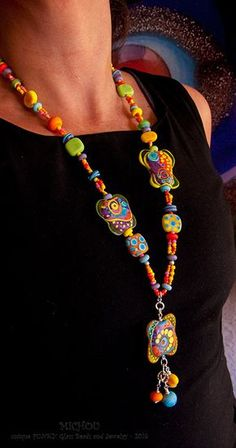 Sun Goddess  Pendant Necklace 51 lampwork beads by MichouJewelry