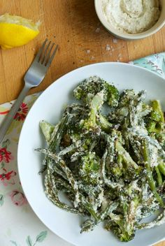 Well Worn Whisk | Family food blog: Roasted broccoli and green beans with walnut and feta sauce