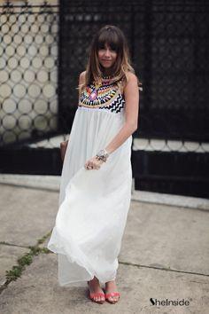 White Sleeveless Embroidery Pleated Chiffon Dress - Sheinside.com
