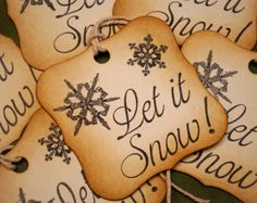 Snowflake Decorative Let It Snow Vintage Inspired Holiday Gift Tags Set of 6